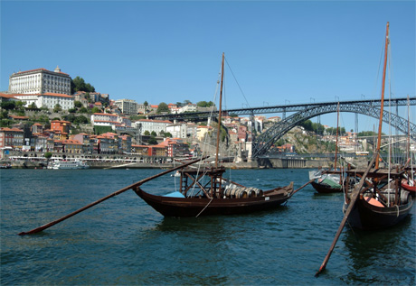 Boats Porto wine barrels Rio Douro photo